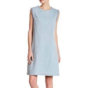 NWT Hope & Harlow denim fringe frayed dress